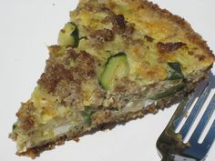 zucchini, onion, sausage quiche with a grain free crust (paleo, with goat cheese)