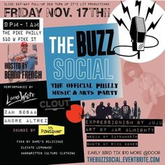 "Philly This Friday Ill Be hosting ""#TheBuzzSocial . A Party bring Love Music & Art together!  Doors open 9pm to 1am @thepikephilly  510 West Pike Street.  Music from @lucaswolfe_ @cloutsworld @mileschancellor @andrealtrez @zahsosaa  more !! DJ Set By @djdonsquiat  Feat. model @bhn_24 & art by @jaralmighty  Food by @damesdelicious and Drinks by @letselevate2017  10 Dollar Entry  TICKETS END THURSDAY. MORE @ DOOR.. Get your tickets ASAP. thebuzzsocial.eventbrite.com  or my  @lucaswolfe_ Bio…"