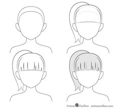 How to Draw Anime and Manga Hair - Female - AnimeOutline Anime Drawings Sketches, Pencil Art Drawings, Anime Sketch, Manga Drawing, Cartoon Drawings, Easy Drawings, How To Draw Anime Hair, Manga Hair, Anime Ponytail