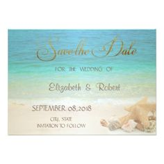 Beach Wedding Seashells Save The Date Card