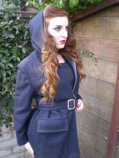 286a7b20e8a Vintage 60 s Navy Blue Jacket. Thick Wool Coat. Belted. Buckled. Hooded  Jacket