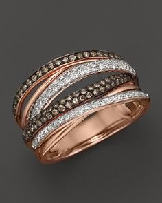 Brown and White Diamond Multi-Row Ring in 14K Rose Gold, .55 ct.tw.