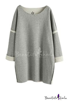 Embroidered Pattern Round Neck Long Sleeve Tunic Sweatshirt