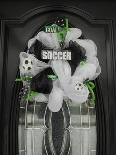 Roezee's Wreaths and More. My wreaths are made to order and while supplies last. I design all types of wreaths for. Mesh Garland, Deco Mesh Wreaths, Fall Wreaths, Garlands, Soccer Locker, Soccer Room, Soccer Wreath, Soccer Crafts, Soccer Banquet