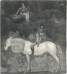 """Svipdag speaks with Thokk, from """"Fädernas gudasaga berättad för ungdomen"""" Viktor Rydberg, illustrated by John Bauer, 1906."""
