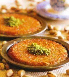 Fistikli Kunefe (Künefe with Pistachionuts) Recipe http://www.yemek-tarifi.info/english/recipe.php?recipeid=114