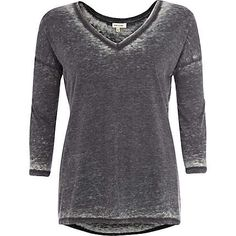 Dark grey burnout V neck top - long sleeve t-shirts - t shirts / vests / sweats - women