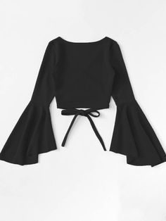 Wrap shirt with flounce sleeves is part of Outfits - Wickelshirt mit Volantärmeln SHEIN Wrap shirt with flounce sleeves Shein Teen Fashion Outfits, Mode Outfits, Cute Fashion, Look Fashion, Girl Fashion, Girl Outfits, Fashion Dresses, Fashion Jobs, Young Fashion