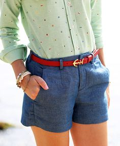 Anchor Starboard Fashion: Nautical Summer Wear from Classy Girls Wear Pearls Preppy Outfits, Preppy Style, Style Me, Summer Outfits, Cute Outfits, Outfits Con Camisa, Madewell, Look Fashion, Womens Fashion