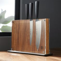 Schmidt Brothers ® Acacia Downtown Knife Block - Crate and Barrel Magnetic Knife Blocks, Collector Knives, Welding Design, Knife Making Tools, Diy Knife, Electric Knife, Knife Storage, Knife Holder, Metal Welding