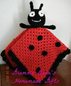 Ladybug Snuggly Security blanket lovie by grammabeans on Etsy, $19.99