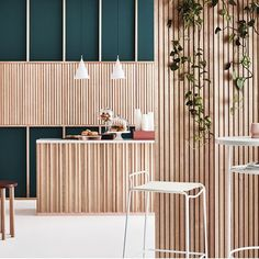 Are you an Architect or Designer looking to create a difference with your next project? Porta Contours is a range of architectural timber linings that allows you to create either a calming and warm at Design Café, Cafe Design, Store Design, Restaurant Interior Design, Commercial Interior Design, Commercial Interiors, Architecture Restaurant, Architecture Design, Exterior Design