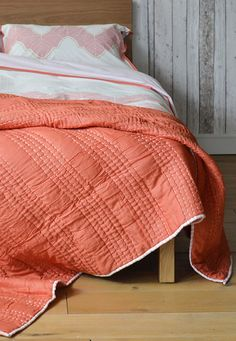 Shanti quilt and Ashland bedding - from Natural Bed Company. #bedding #quilts #salmon #boho http://www.naturalbedcompany.co.uk/shop/bedding/shanti-quilts/