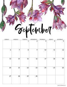 September 2021 calendar page with purple flowers September Calendar Printable, Cute Calendar, Monthly Calendar Template, Monthly Planner Printable, Printable Calendar Template, Print Calendar, Calendar Pages, Free Printables, Blank Calendar