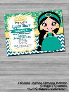 #Jasmine #Aladdin #Disney #Princess #birthday #invitation #invite #personalized #custom #etsy #ChrispixsCreations