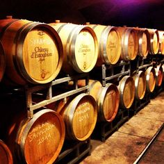 Aging wine barrels.  Chateau d'Estoublon #ourchoix