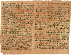 The Edwin Smith papyrus, the world's oldest surviving surgical document. Written in hieratic script in ancient Egypt around 1600B.C.
