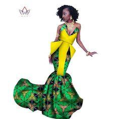 2017 Already Made Mermaid Ankara Long Dresses Africa Dress For Women