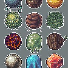 'Pixel Materials' by Panda-Siege Anime Pixel Art, Cool Pixel Art, Pixel Maker, Fantasy Landscape, Fantasy Art, Pixel Circle, Sprites, 8bit Art, Pixel Art Games
