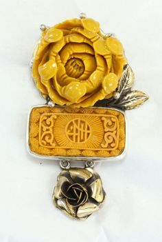Hand-Carved Flower Pin-Pendant