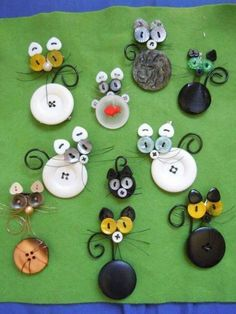 If your creative hands are itching to make super easy and fast craft projects, then this list of easy crafts to make and sell. Cat Crafts, Kids Crafts, Sewing Crafts, Diy And Crafts, Sewing Projects, Craft Projects, Arts And Crafts, Button Art Projects, Button Crafts For Kids