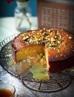 Orange Polenta Cake with Honey & Rosewater Syrup