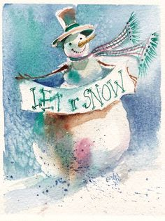 Original Watercolor Christmas Snowman PRINT by SimplyArtByKristin, $7.00
