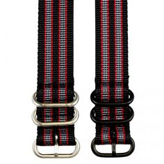 Clockwork Synergy Grey & Red Heavy NATO watch strap in 3-ring or 5-ring with…