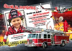 Personalize Firefighter Party, Fireman Invitation, Fire Truck Birthday - ADD Helmet