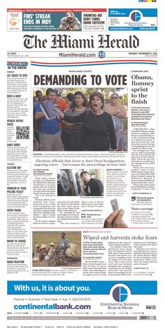 Anger over voting on the Miami Herald's front page