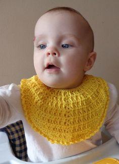 Yellow Crochet BABY BIB  Icelandic Production by HuldaGK on Etsy