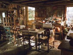 Weasley's kitchen. I love the mismatched homeyness.