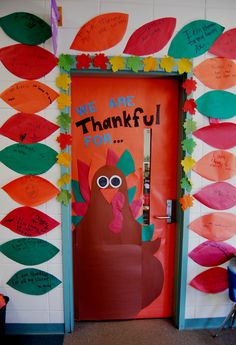 1st Grade Interactive Thanksgiving Door! They write on paper feathers what they are thankful for.