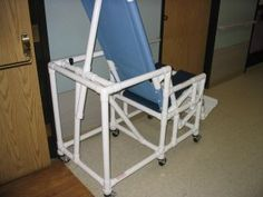 This Contraption is a Reclining Shower Chair Built for a Nursing Home. Even has a Toilet Seat Attached. Apparently It Works Like a Charm! Courtesy of Molly in California.  Interesting!