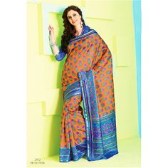 Infinity Collection  Get the ultimate new look this season.  Orange and Blue color saree crafted on Raw silk material is engrossed with self embossed prints.  This saree is accompained with matching blouse piece.  Color may slightly vary due to screen resolution and digital photography.  This exclusive saree is available at : http://dealbang.ca/dealbang-boutique/infinity-collection/Infinity-Collection-2512