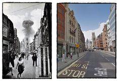 Bombardamento sulla Citta' di Londra con missili radiocomandati a lunga distanza V1 il luogo e' Fleet St #Giugno1944