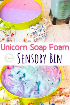 This unicorn soap foam recipe mixes soap and water with cornstarch to create foam that has a great texture. Make a few colors and swirl together for a fun unicorn theme! We love sensory play that… Fairy Tale Activities, Sensory Activities, Infant Activities, Activities For Kids, Sensory Play, Activities For Babysitting, Sensory Diet, Kindergarten Activities, Educational Activities