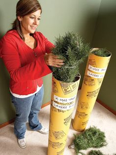 Store Artificial Christmas Tree in tubes. Label the layers of your artificial tree; Store in concrete form tube. Easier than trying to get it back in the box.