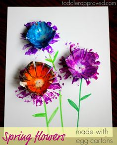 Spring flowers made with egg cartons. What else have you made with an egg carton?
