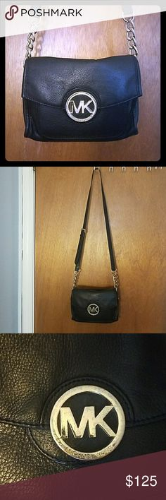 Michael Kors Crossbody Bag - *Authentic* Black with gold hardware.  Used but still in good condition.  Showed wear in pics.  MK logo a little tarnished & showed wear on strap in pic also. Michael Kors Bags