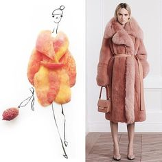 #Regram from @groehrs #JasonWuResort2016 fur coat illustrated with peaches  by jasonwu
