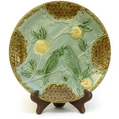 Antique Majolica Bird Plate. Antique Love Birds Wall Plate. Antique... ($52) ❤ liked on Polyvore featuring home, kitchen & dining, dinnerware, bird plates and bird dinnerware