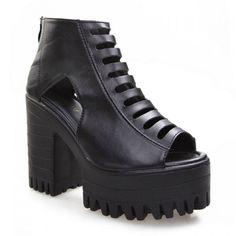 Street Style Openwork and Platform Design Peep Toed Shoes For Women, BLACK, 38 in Peep Toe | DressLily.com