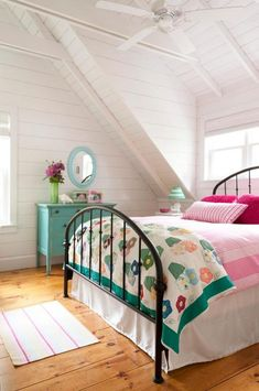 love the quilt, dresser, walls and ceilings, everything!