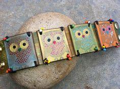 Leather Owl Bracelet OOAK jewelry by DGierat by dgierat on Etsy, $48.00