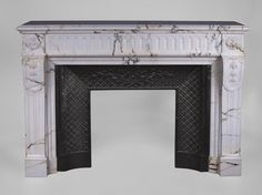 Large antique Louis XVI style fireplace with flutings in Paonazzo marble (Reference 3214) - Available at Galerie Marc Maison #fireplace #antique #19thcentury #paonazzo #marble #saintouen #fleamarket