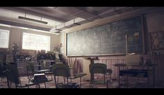 Classroom - CG Scene by Studio Aiko , via Behance