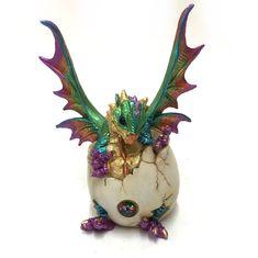 Dragon Hatching out of Egg Figurine Ornament Sculpture Statue Purple 18cm 3303…