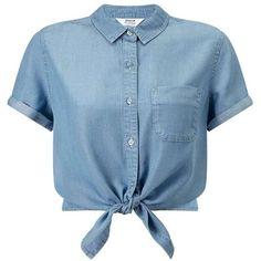 Miss Selfridge Super Soft Denim Tie Crop ($18) ❤ liked on Polyvore featuring tops, blouses, shirts, crop tops, blusas, light wash denim, denim shirt, blue denim shirt, tie-neck blouses and summer shirts