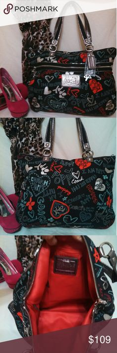 Authentic Coach Poppy Shoulder Bag. EUC! Authentic black Coach Poppy Shoulder Bag. Pre-loved but in excellent condition. Nice big bag. No rips or holes. Inside is in good condition as well. Bundle and save. Happy poshing. Coach Bags Shoulder Bags